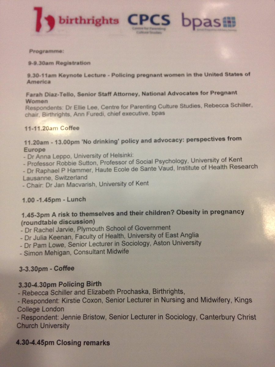 Great day ahead at #policingpregnancy conference @CPCS_UniKent @birthrightsorg @bpas1968 https://t.co/75qUr3eLwH