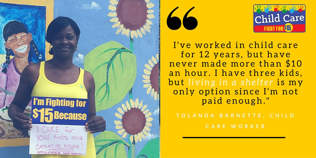 Due to her low pay, Tolanda is forced to live with her kids in a shelter. That's wrong. #FightFor15 #ChildCareForAll https://t.co/IVhwpI71HG