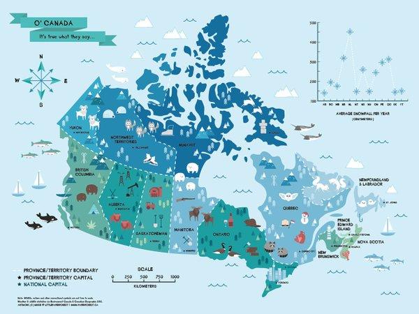 Canadá En Venezuela On Twitter Un Bello Mapa De La Fauna De - Canada mapa