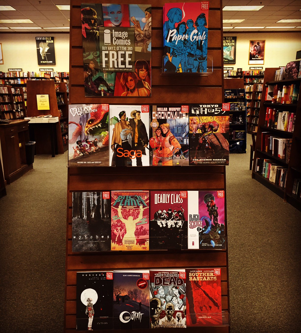 Right now all @ImageComics are buy 2 get the 3rd FREE! Come check out the best new comics on the planet! #bnsandiego https://t.co/akry0TjDHl