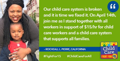 """Rocheall, childcare worker: """"Our childcare system is broken & it's time we fixed it"""" #FightFor15 #ChildCareForAll https://t.co/k4qUPmVtJy"""