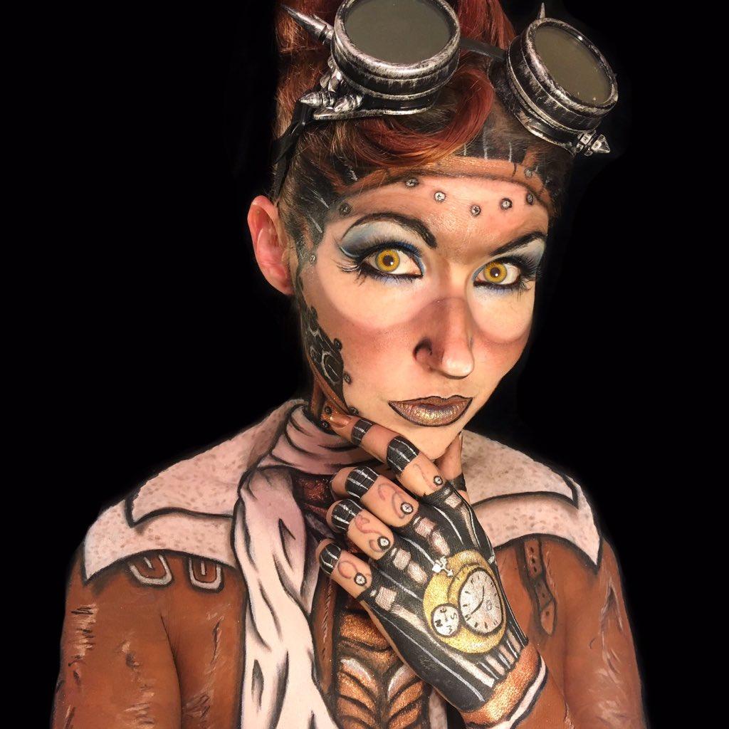 1656c5dc7c6 My Gal The Zombie Fx On Twitter Steampunk Aviator By Me Robot Cyborg Makeup  Mua Mehron