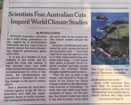 It's not often that Australia makes it to the front page of the @nytimes, but the CSIRO cuts made it #supportCSIRO https://t.co/BV4335FxU1