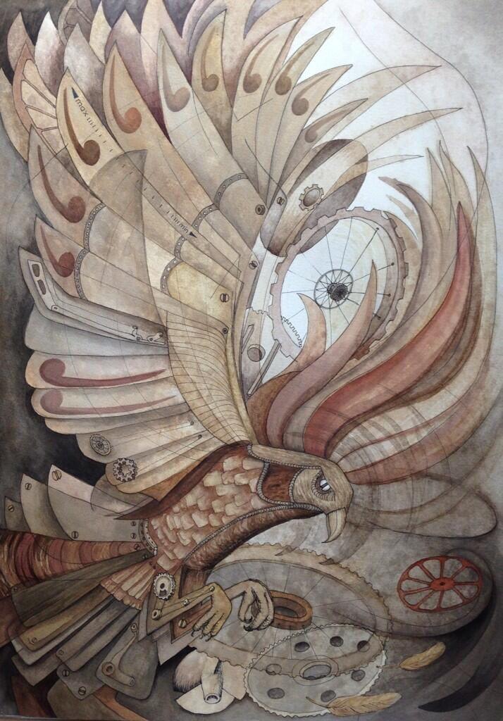 """Machine of Joy"" A2 watercolour, pen & coffee on paper by Angela Coburn @twisterellla #TwitterFirstFriday #art https://t.co/WiqWGjqH3K"