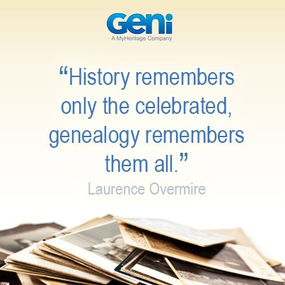 """History remembers only the celebrated, genealogy remembers them all."" #quotes #familyhistory https://t.co/hBsnSO7j6v"