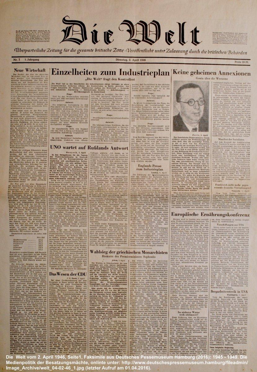 """Die erste Ausgabe der Tageszeitung """"Die Welt"""" erscheint zum Preis von 20 Pfennig in Hamburg und Berlin. @welt https://t.co/1ipDbB3JR4"""