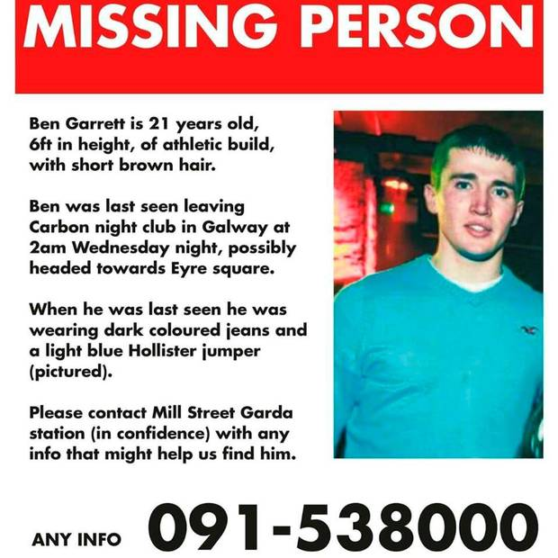 Pte Ben Garrett is missing. DF, Gardai, family & friends to conduct search in Galway at 11am today, Mill St Station. https://t.co/zqouyvdS0Z