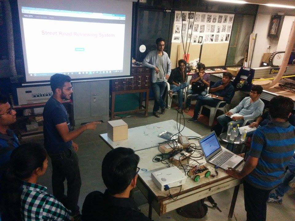 "Check out the team in action for the ""Street/Road reviewing robot""  #GenuinoDay #FablabCEPT #AEFest #Fabathon #IoT https://t.co/IIIekvjVjc"