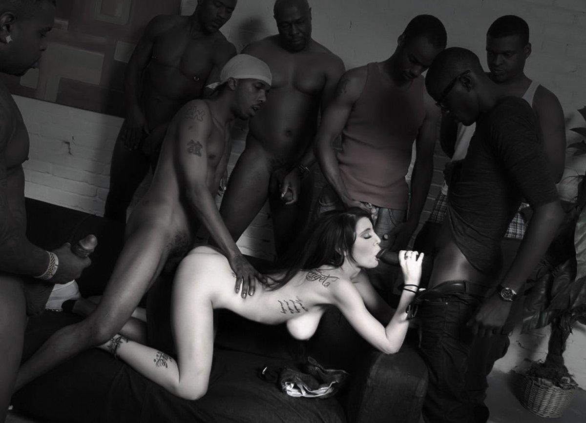 Black guy white girl gangbang