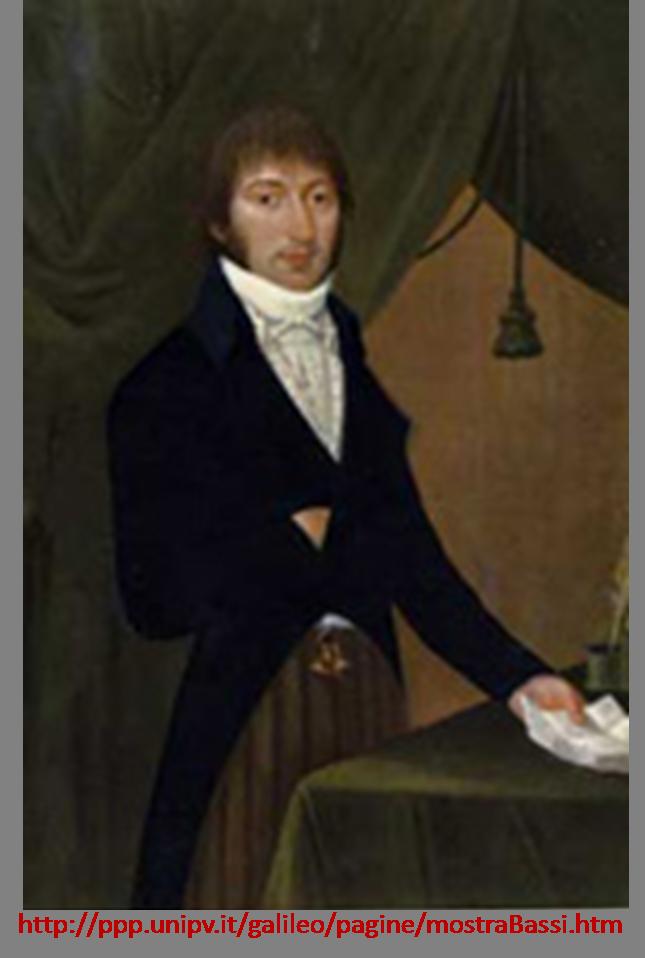 Agostino Bassi 1773-1856 alumno d Spallanzani refuerza origen microbiano de enfermedades contagiosas #microMOOCSEM https://t.co/v5sTMEuscW