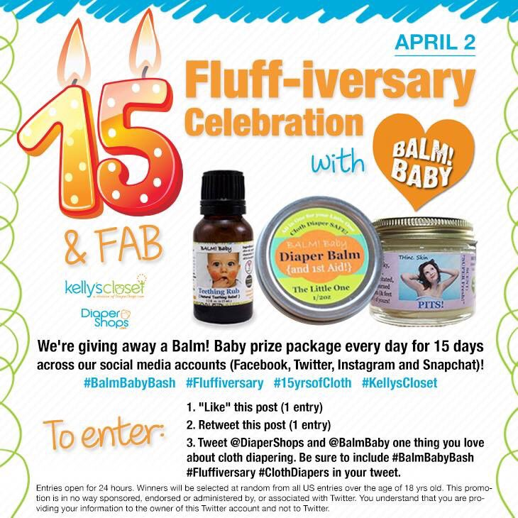 Today the #balmbabybash is here on Twitter! Like and RT to enter! 24 hrs only. #fluffiversary #clothdiapers https://t.co/OGNC1zpLpA