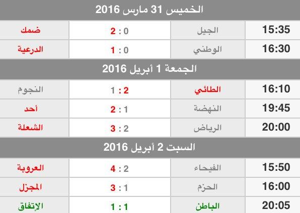 """نادي العروبة السعودي on Twitter: """"ترتيب ونتائج الفرق بعد ..."""