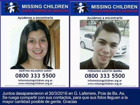 Nos ayudan a encontrar a Martina y a Fernando? Por favor RT https://t.co/ZV9Q3BYMtu