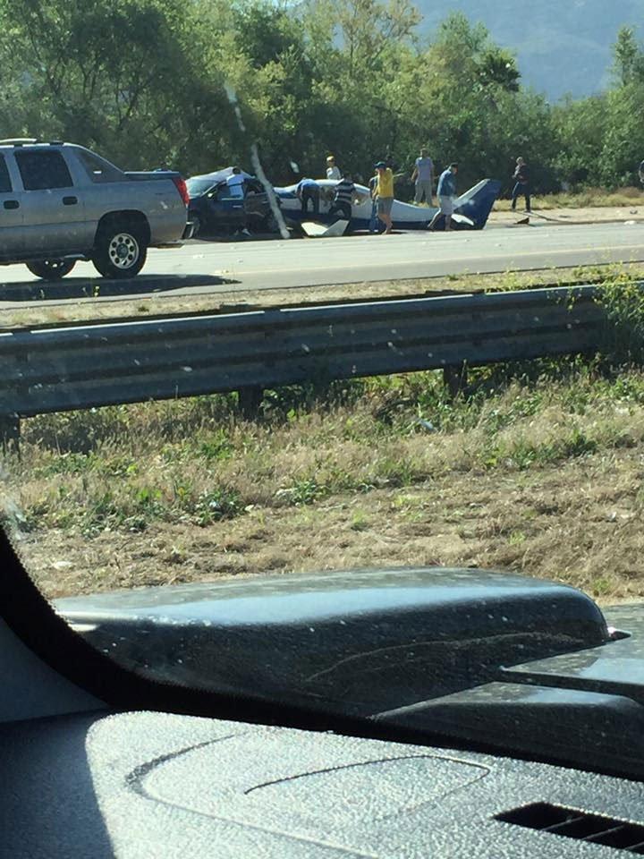 plane crashes car NB Fwy north San Diego County photo Cara