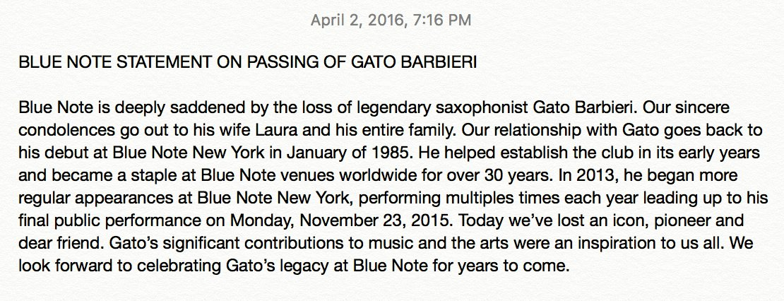 #RIP #GatoBarbieri @agent40, who passed away earlier today. You will be missed. Official @BlueNoteNYC statement here https://t.co/SCvaR3AZLM