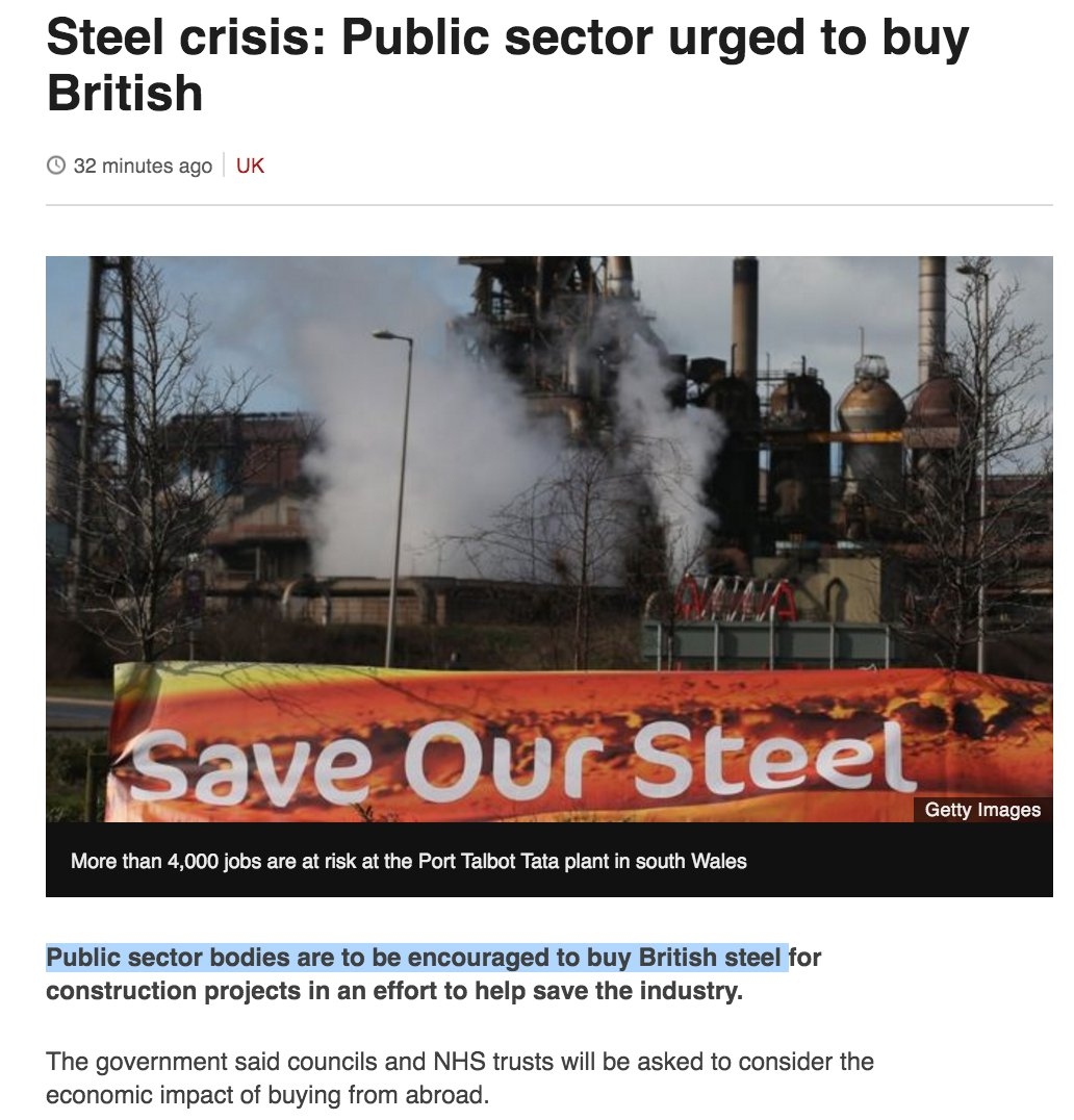 """Cameron's right. Why put tariffs on China? Far more effective to """"encourage"""" dwindling public sector to buy British. https://t.co/ZobLtncpWJ"""