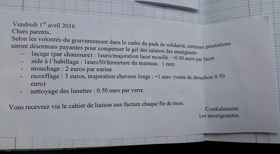 Trouvé sur la Tribune de l'Ardèche, ce petit mot (du 1er avril) mis dans le cahier par des enseignantes d'Aubenas… https://t.co/MtORrKEKz7