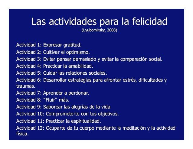 """Ignacio Fernández Reyes on Twitter: """"Las 12 actividades para construir  felicidad, según Lyubomirsky. https://t.co/pr9U8lokBX"""""""
