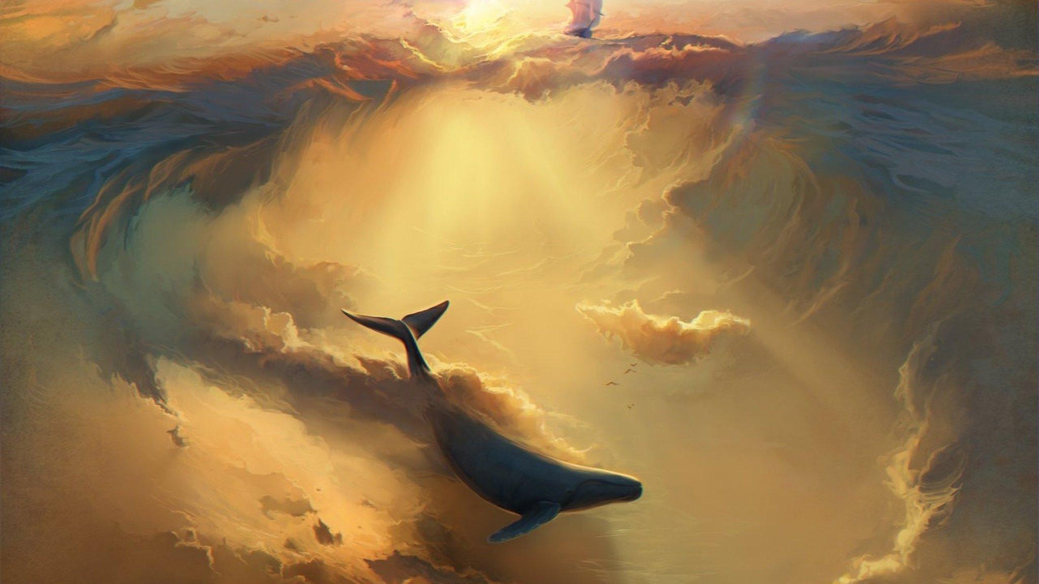 киты в небе картинки высокого разрешения комфортной фактурой насыщенной
