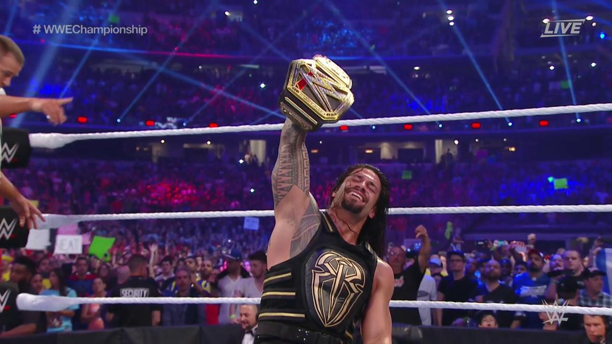 The #RomanEmpire RISES as @WWERomanReigns defeats @TripleH for the #WWEChampionship! #WrestleMania https://t.co/VlA0QKGkSZ