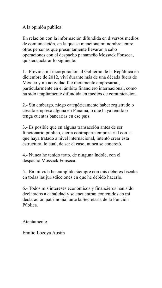 Niego categóricamente haber tenido relación alguna con el despacho Mossack Fonseca @Reforma @revistaproceso