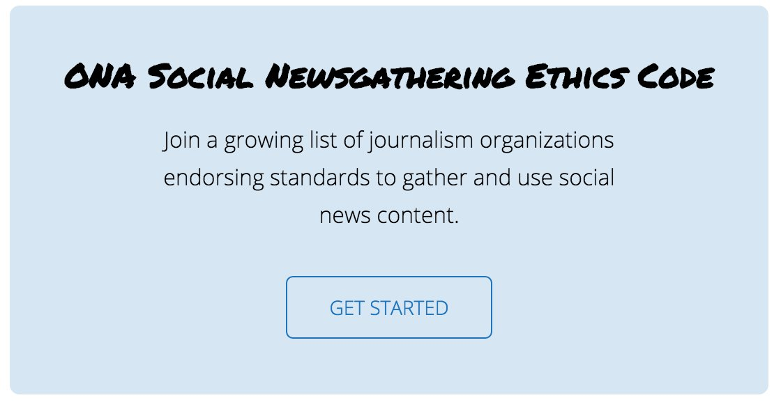 ICYMI: @ONA launched the news industry's first ethics code for social newsgathering. https://t.co/UZmgK2Wow7 https://t.co/WxADGf8mMx