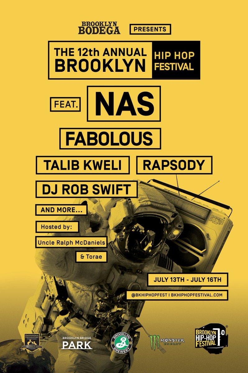 @Nas Set to headline the 2016 Festival along with @myfabolouslife @TalibKweli @rapsody https://t.co/3fVEr6P37a https://t.co/zo99ETRsji