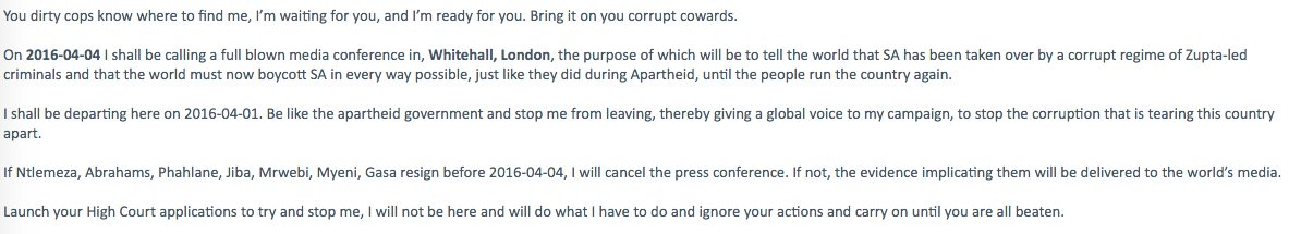 Screenshot of Paul O'Sullivan's email telling Hawks when he is leaving SA and why...heh, heh, heh https://t.co/kzCnXhjjX0