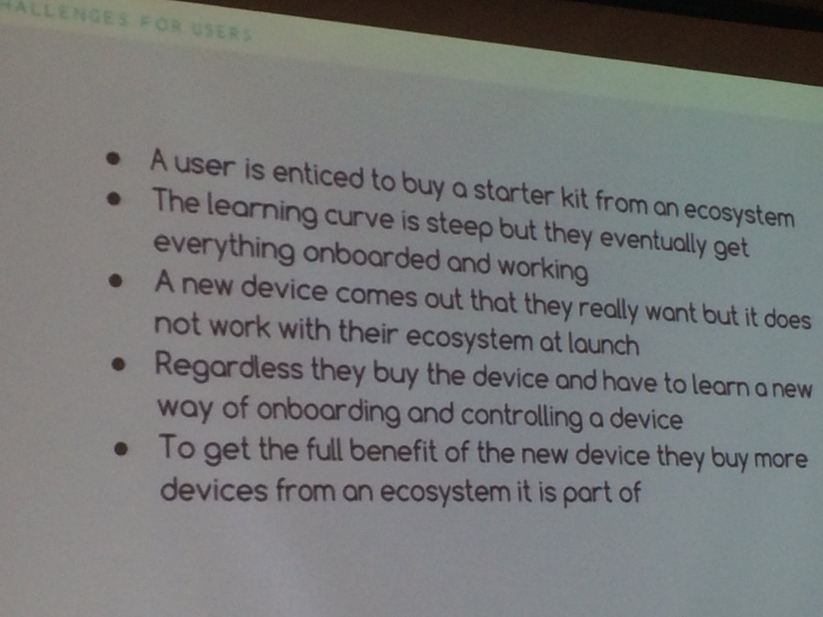 Vernon: The challenge for #IoT for users... #OpenIoT #AllJoyn @two_bulls https://t.co/sQRG4TEVih