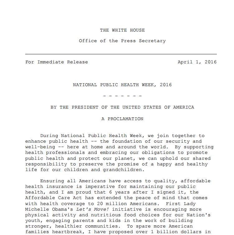 President Obama has issued an #NPHW proclamation recognizing the importance of public health https://t.co/JhCaOdtpAz https://t.co/rrJ9qNiO0p