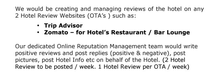 A digital marketing agency sent this proposal to a 5-star hotel. How do you trust online reviews? https://t.co/fd1QQxdS93