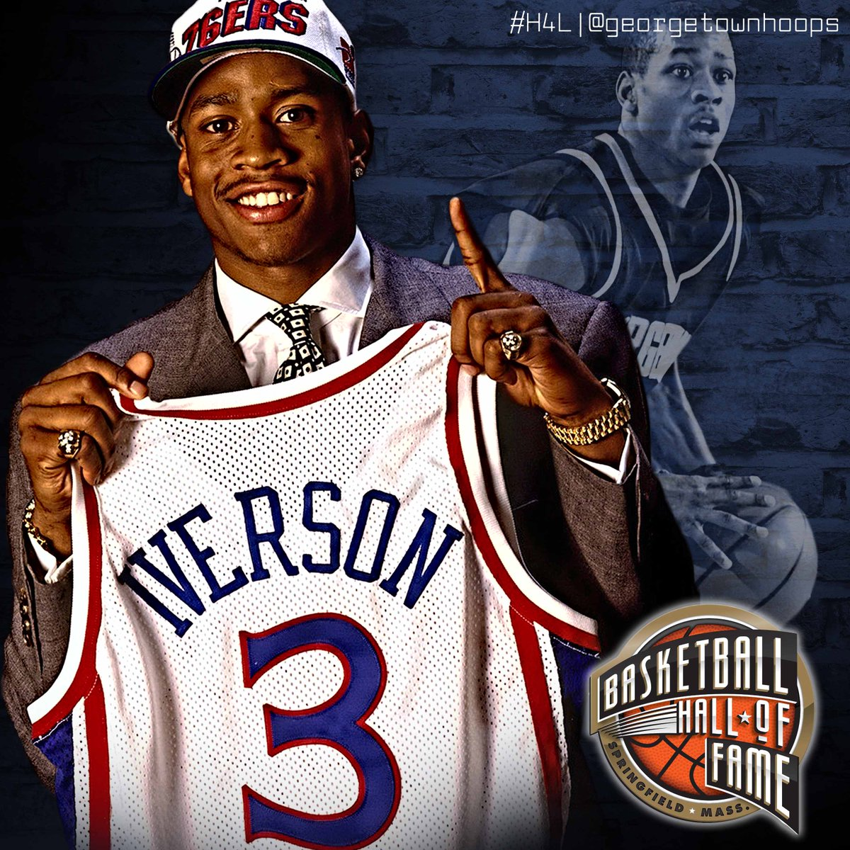 Hall of Famer. Congratulations, @alleniverson! #H4L #WeAreGeorgetown https://t.co/cYETAkTh84