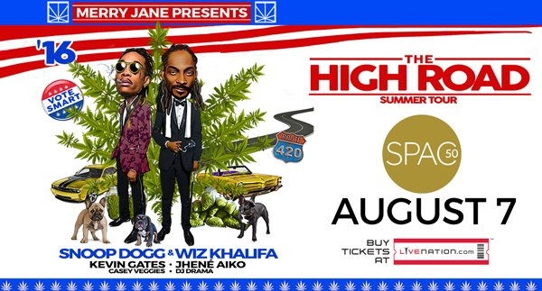 ANNOUNCE: @SnoopDogg & @wizkhalifa will be taking #TheHighRoad to #SPAC on 8/7! Tix on sale Friday! https://t.co/GK7gEKwV4U
