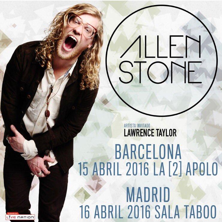 Cartel concierto Allen Stone 2016 Madrid y Barcelona