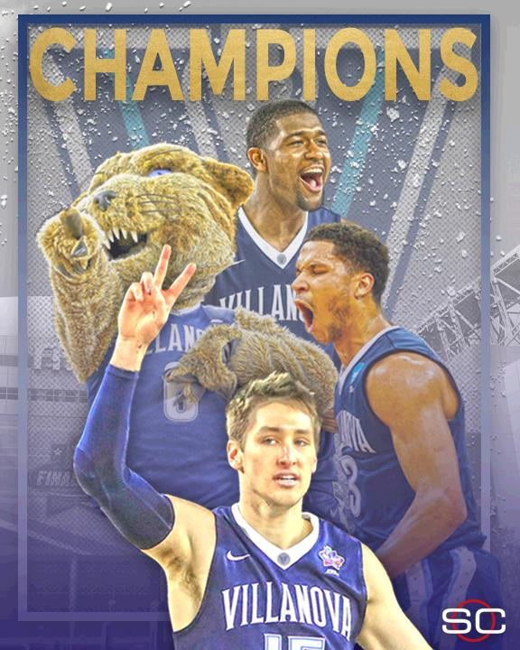 WHAT A FINISH! Kris Jenkins hits a buzzer-beating 3 to win the National Championship for Villanova.