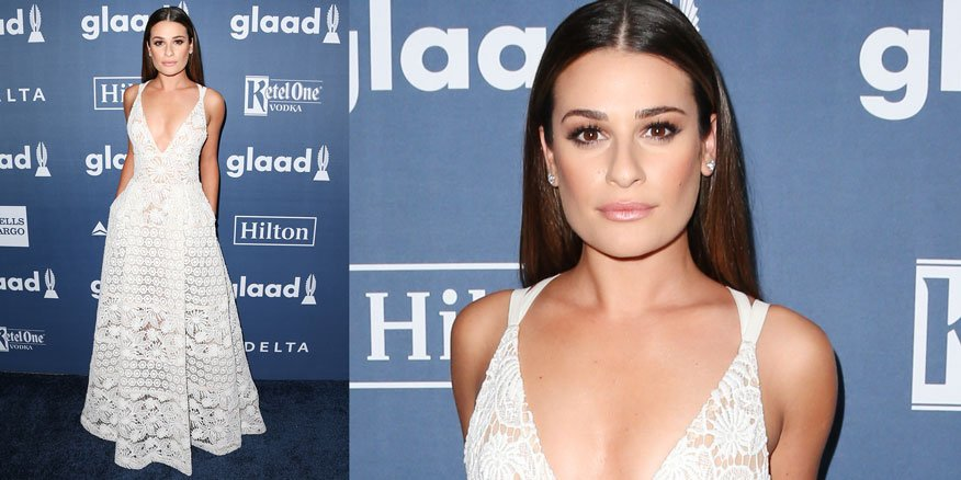 @msleamichele has us swooning over the beautiful Elie Saab gown she wore to the GLAAD Media Awards #LookOfTheDay