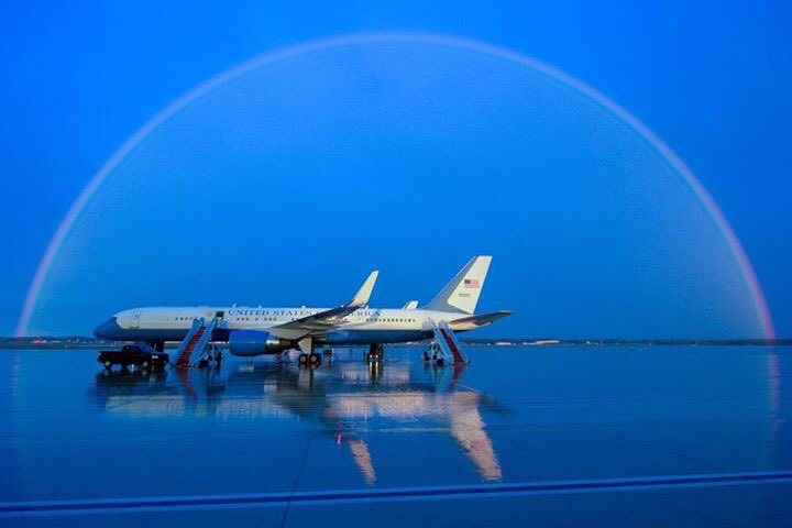 LUCKY CHARM: Rainbow over plane at Andrews Air Force Base poised to take Secretary of State John Kerry around world https://t.co/mGmfuIAkAi