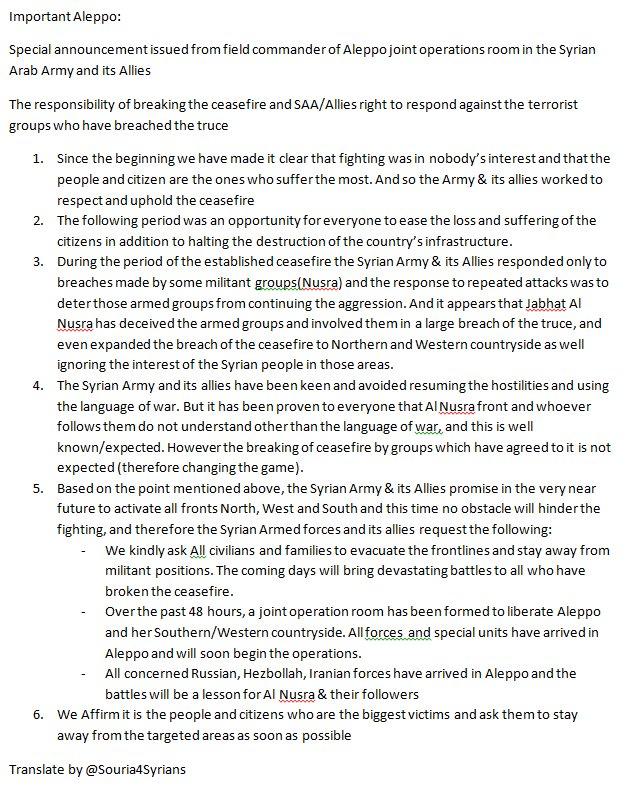 Syrian Civil War: News #7 - Page 21 CfRBw5PWQAA0HwK