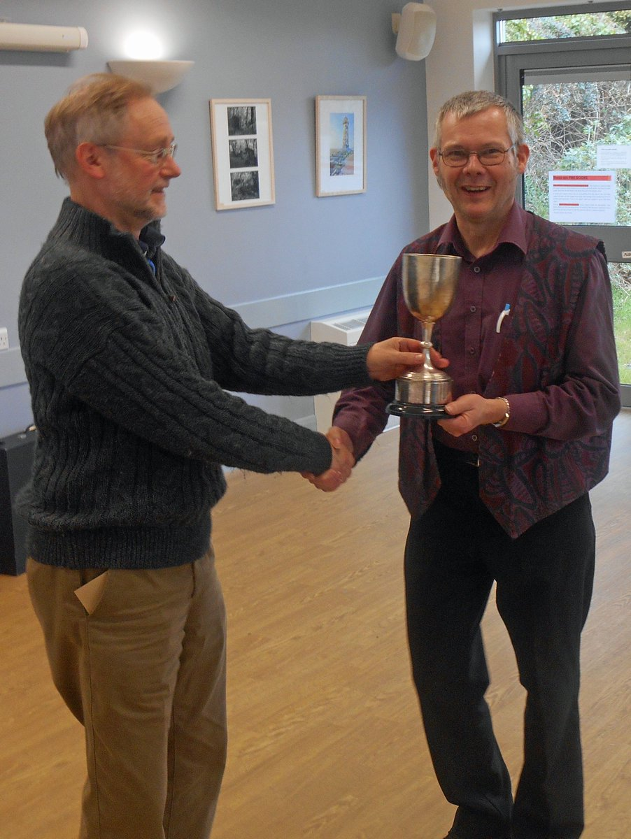 Cornwall Chess President Presenting the Falmouth Cup to John Constable