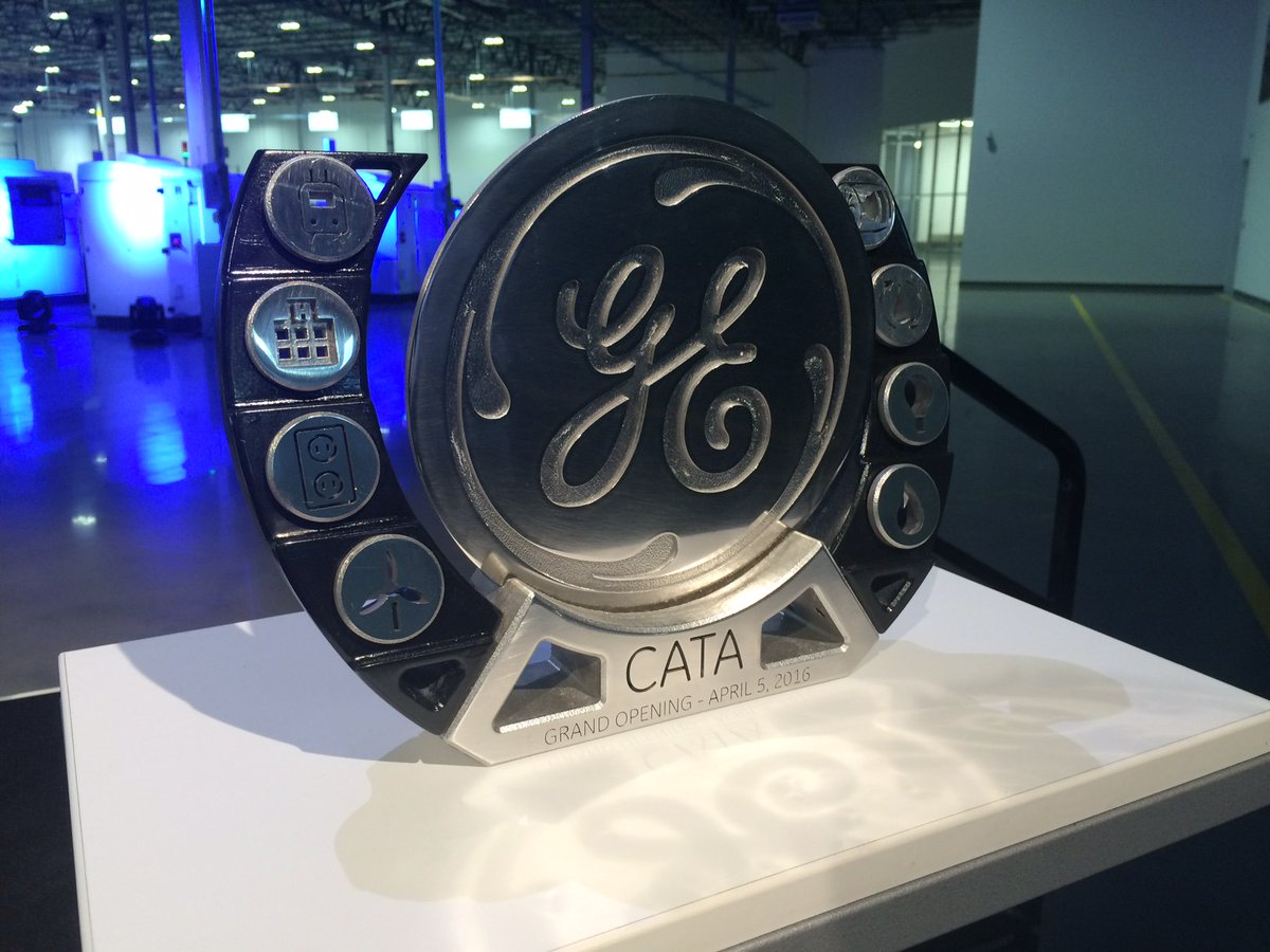 3D printed in 24 hours, representing our additive technology and the 8 GE businesses CATA will support. #FirstGECATA https://t.co/HYRAfulJO7