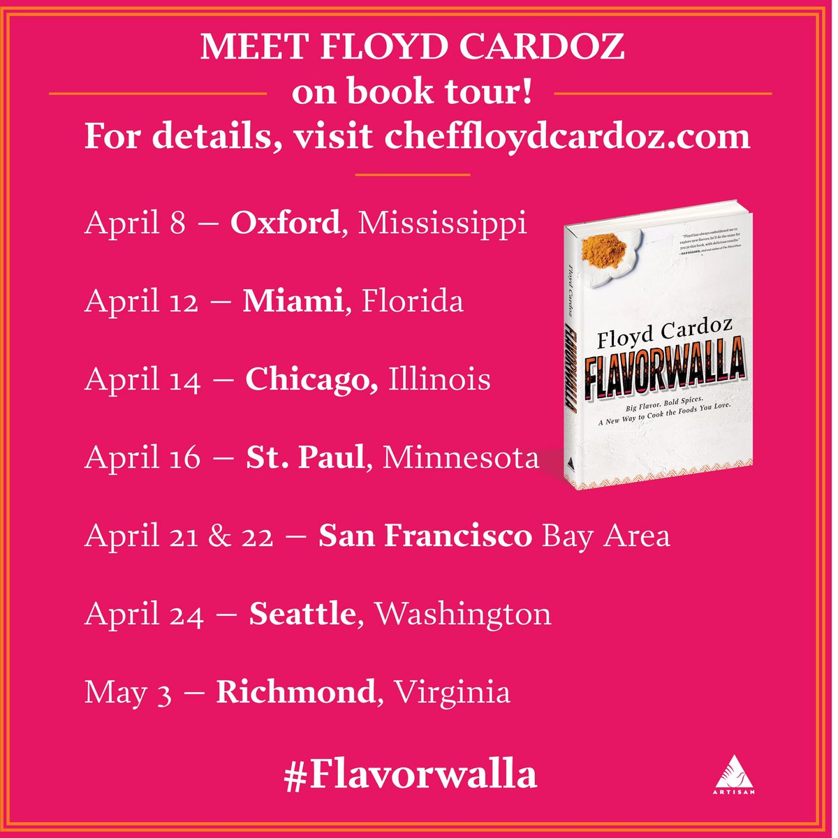 Finally my new book #Flavorwalla is released today I am excited to be visiting these cities. https://t.co/w23cekIjKQ