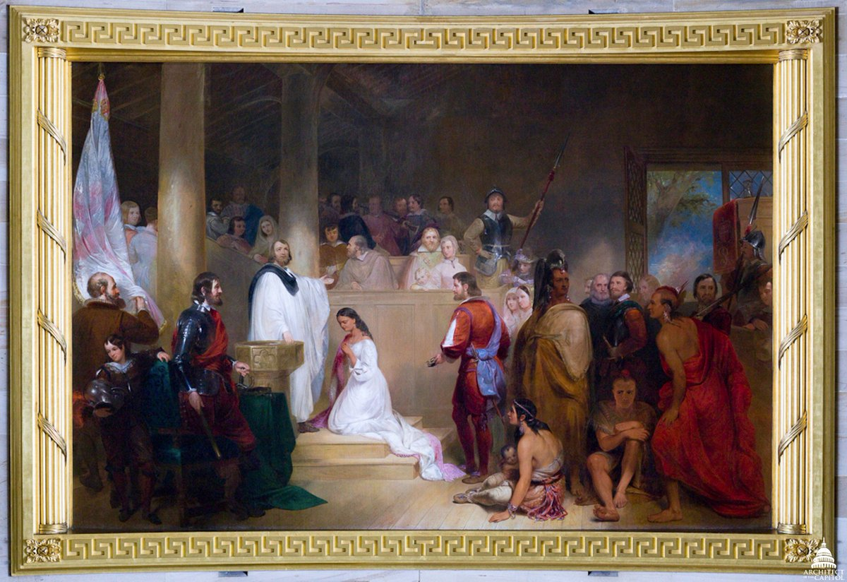 Capitol Rotunda Painting Baptism Of Pocahontas Future Husband John