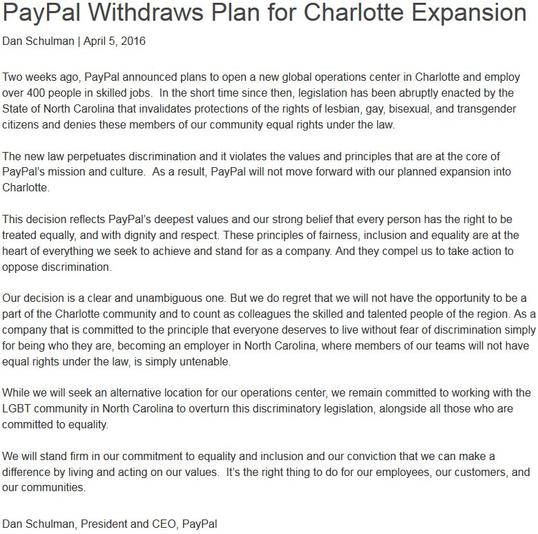 PayPal would have employed 400 ppl pulls out of NC due to #HB2. Here's the letter from CEO. #ncnews @wncn https://t.co/X1GO0bgZvO