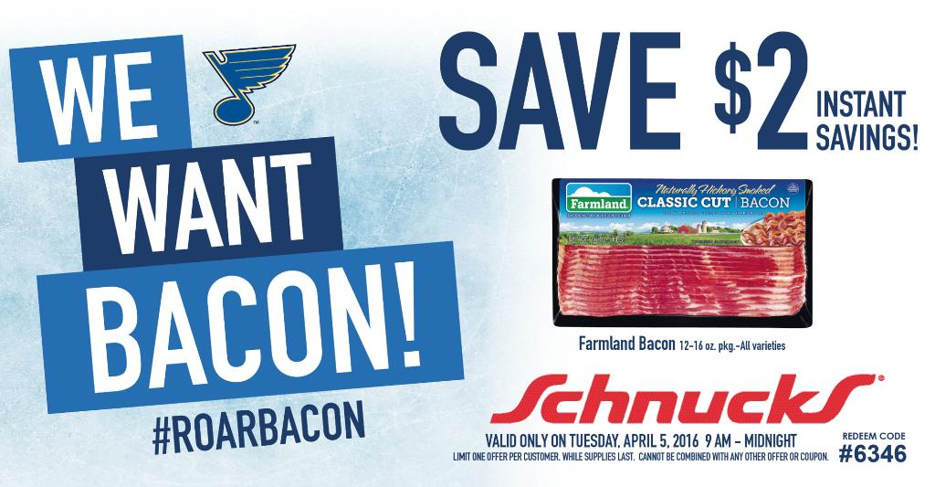 WE WANT BACON! @StLouisBlues roared back from a 2-goal deficit to win! Redeem coupon – in-store today, 4/5/16 only! https://t.co/6rt8lgLAa8