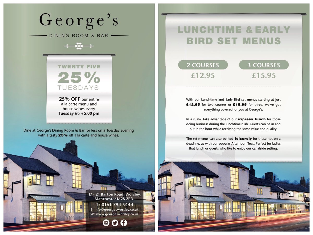 Georges Worsley On Twitter Our New 25 OFF TUESDAY Offer Goes Live Tonight Dinner Is Served GeorgesWorsley Offers Mcr HappyTuesday