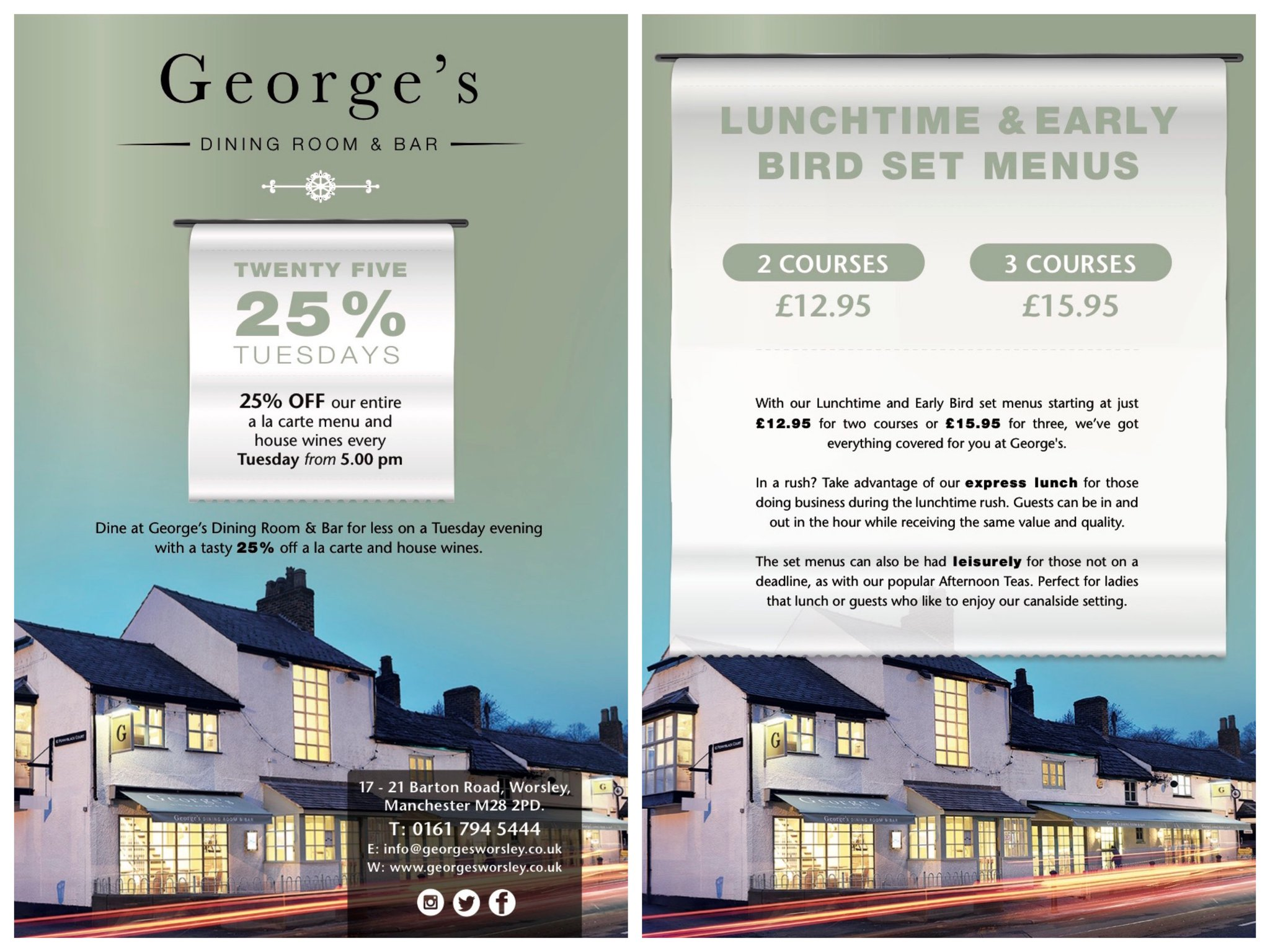 "george's worsley on twitter: ""our new '25% off tuesday' offer goes"