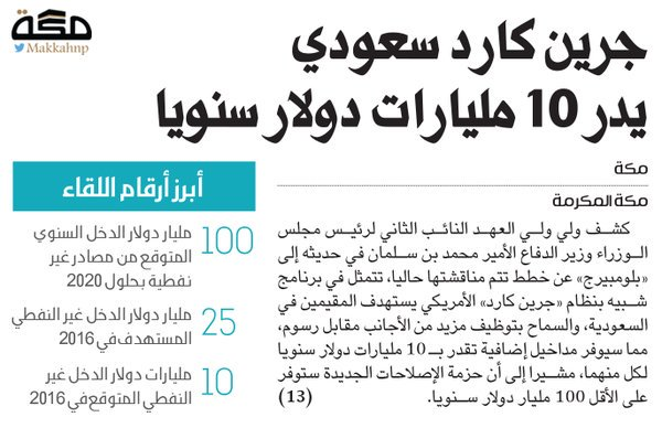 """قالت صحيفة """"الحياة"""" السعودية، إن أنباء ترددت تفيد بأن الجهات السعودية  المختصة تعكف على إنهاء مسودة برنامج البطاقة الخضراء السعودية (غرين كارد)،  التي تتيح ..."""