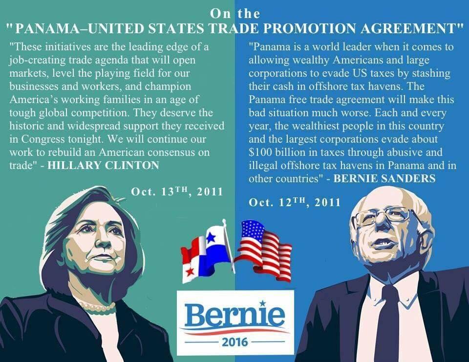 Wa Progressive On Twitter Bernie Vs Hillary On Panama Free Trade