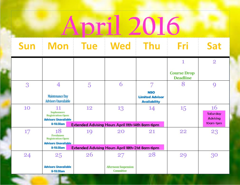 Utep Calendar.Utep Advising Center On Twitter Check Out Our April 2016 Calendar