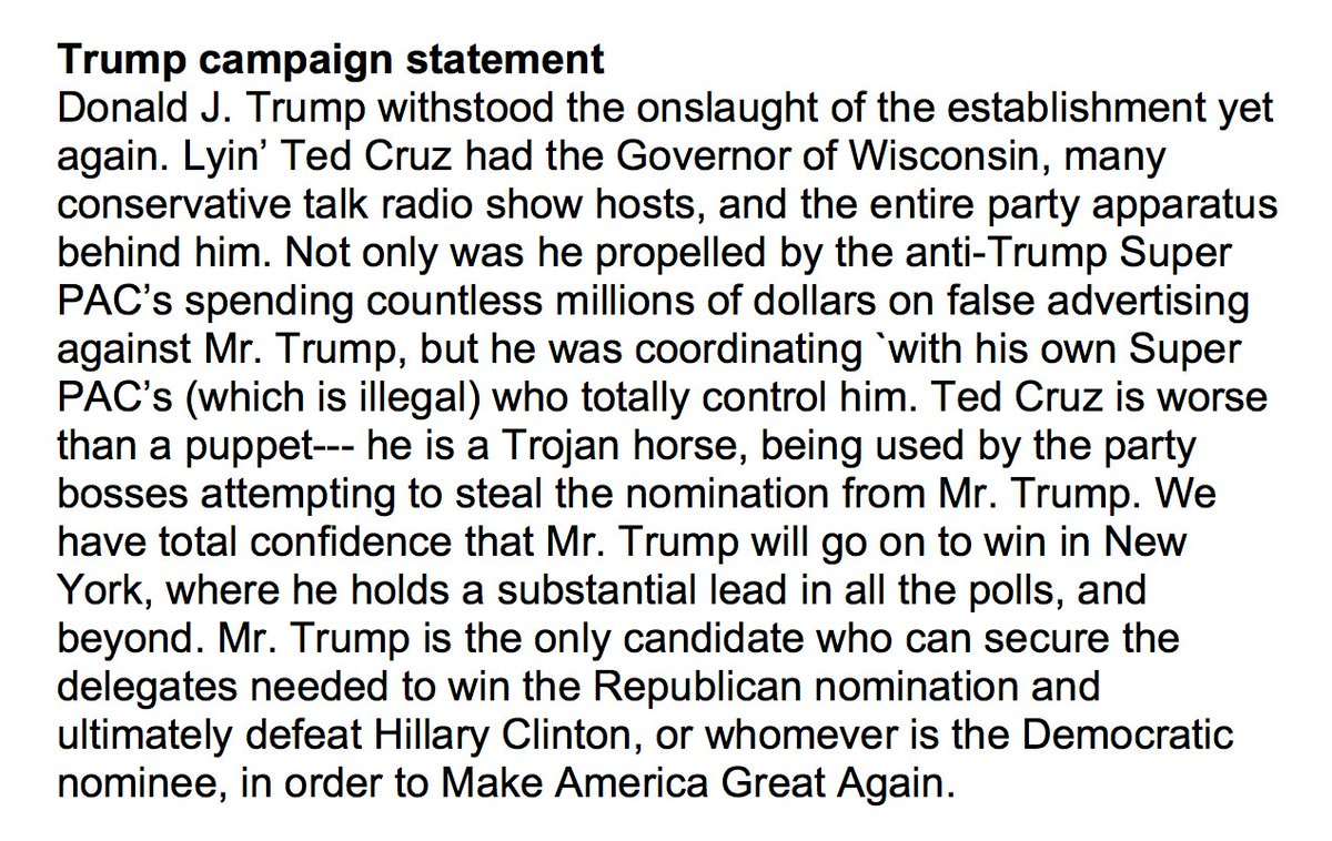 NEW: Trump campaign statement tonight https://t.co/ycqP3IJYWn